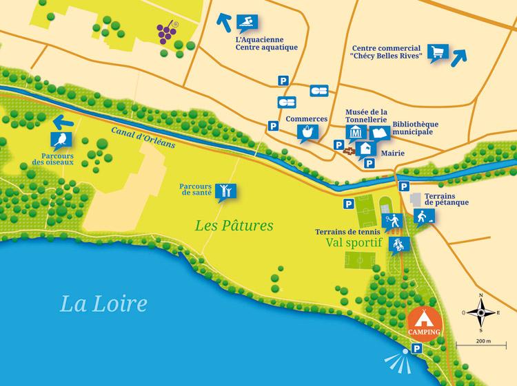 """Plan de situation du camping """"Les pâtures"""""""